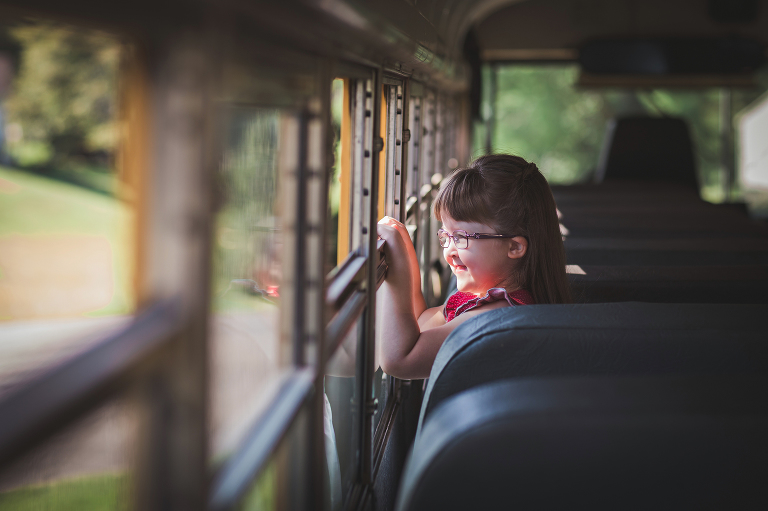 back to school photos on a school bus