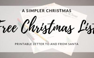 A Simple Christmas – FREE CHRISTMAS LIST PRINTABLE