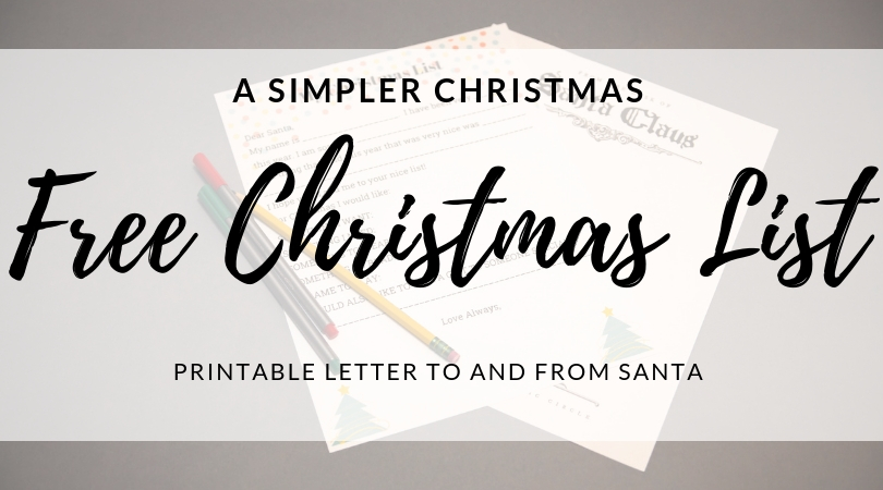 A Simple Christmas – FREE CHRISTMAS LIST PRINTABLE